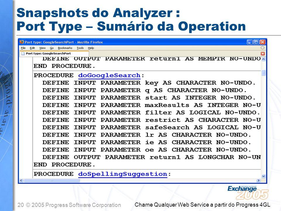 Snapshots do Analyzer : Port Type – Sumário da Operation