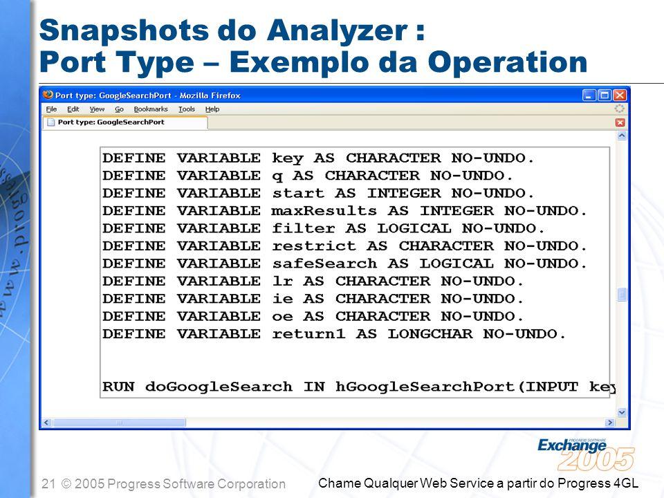 Snapshots do Analyzer : Port Type – Exemplo da Operation