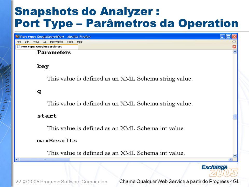 Snapshots do Analyzer : Port Type – Parâmetros da Operation