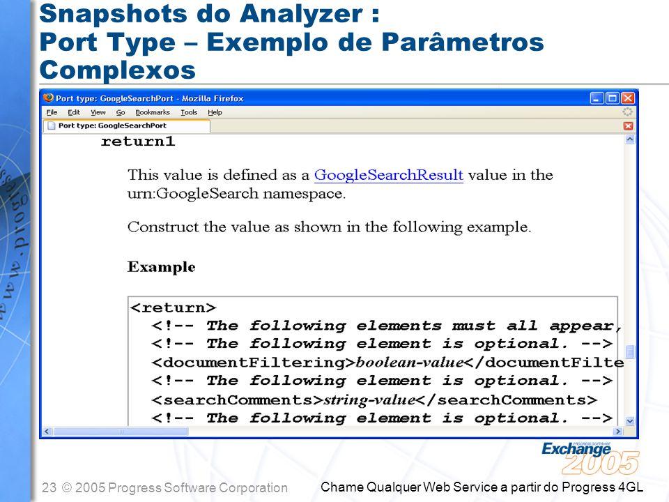 Snapshots do Analyzer : Port Type – Exemplo de Parâmetros Complexos