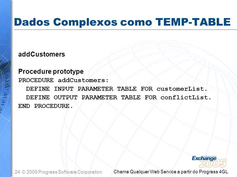 Dados Complexos como TEMP-TABLE