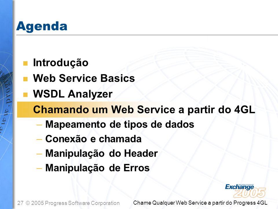 Agenda Introdução Web Service Basics WSDL Analyzer