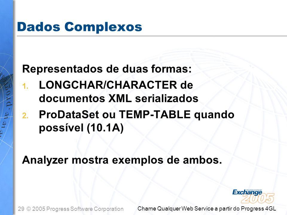 Dados Complexos Representados de duas formas: