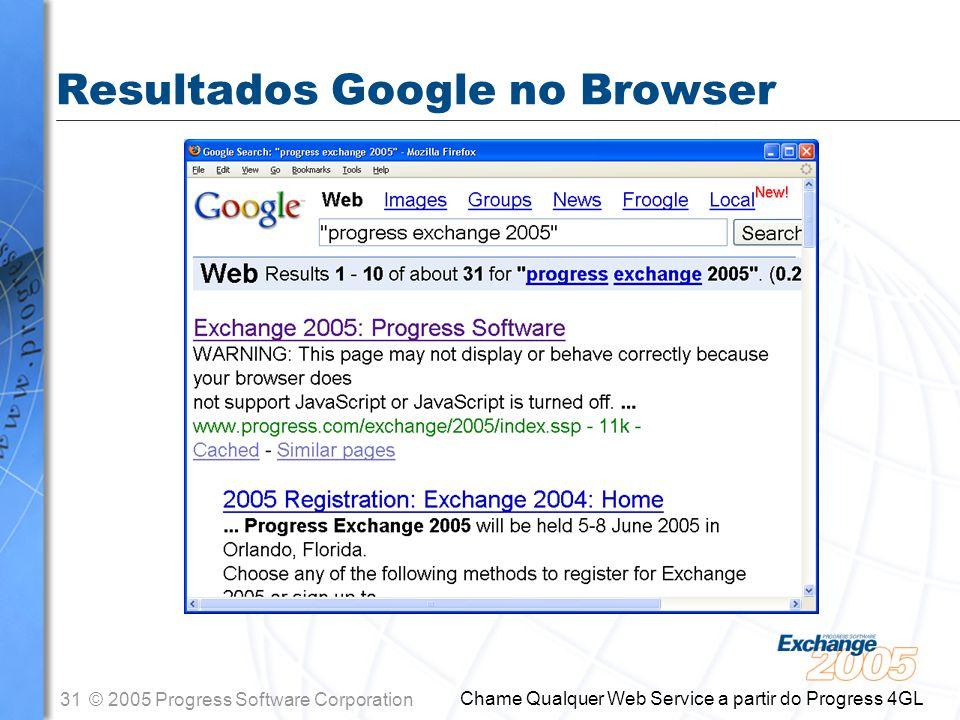 Resultados Google no Browser
