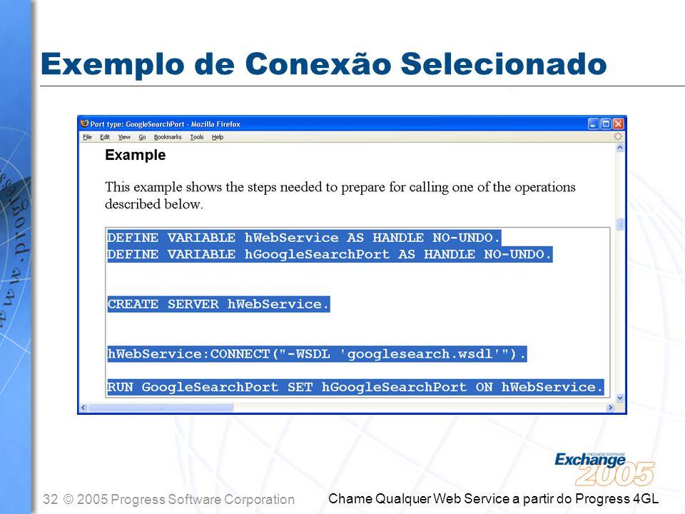 Exemplo de Conexão Selecionado