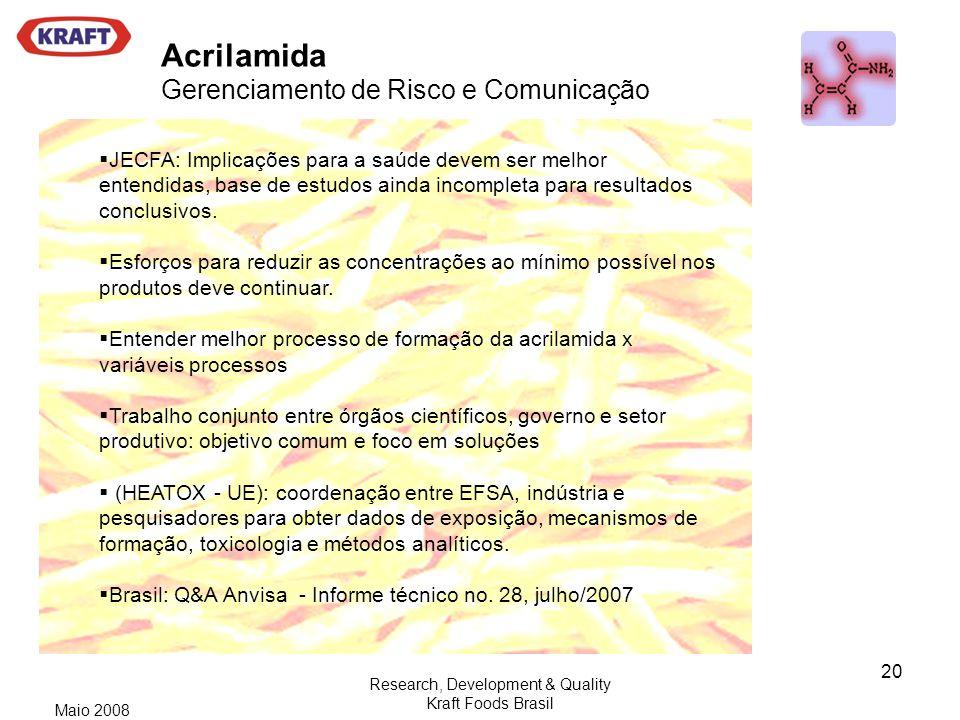 Acrilamida Gerenciamento de Risco e Comunicação