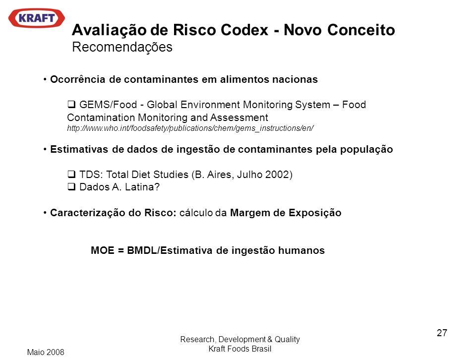Avaliação de Risco Codex - Novo Conceito Recomendações