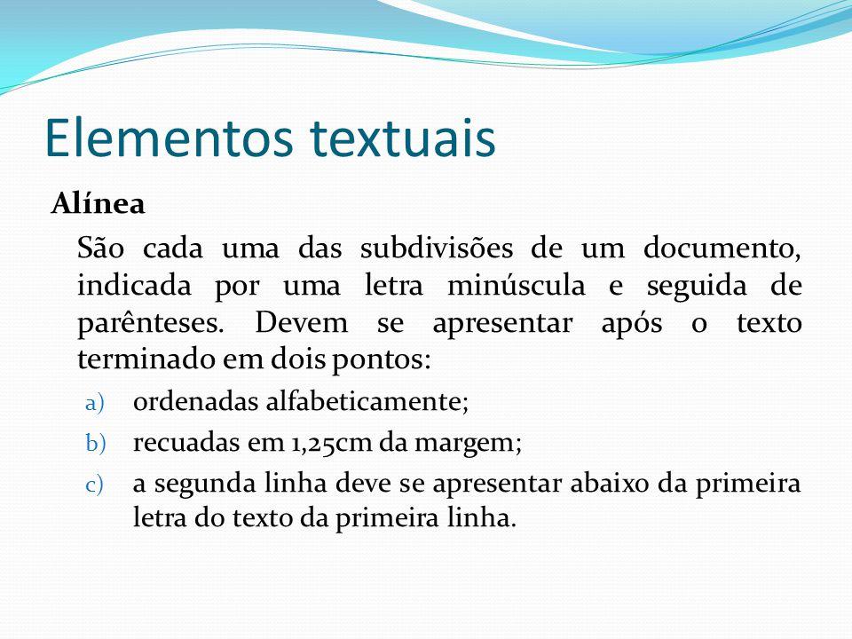 Elementos textuais Alínea