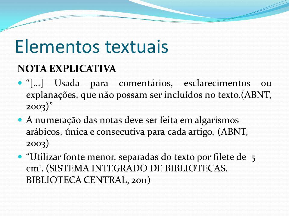 Elementos textuais NOTA EXPLICATIVA
