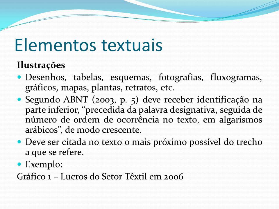 Elementos textuais Ilustrações