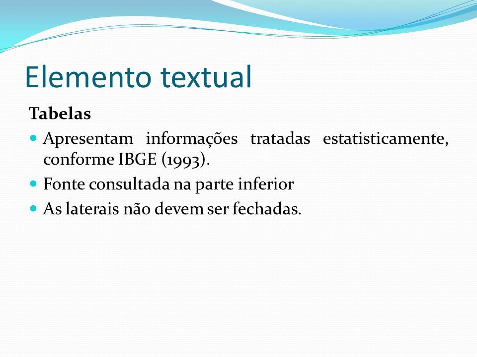 Elemento textual Tabelas