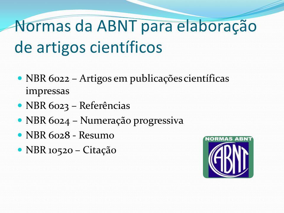 Normas da ABNT para elaboração de artigos científicos