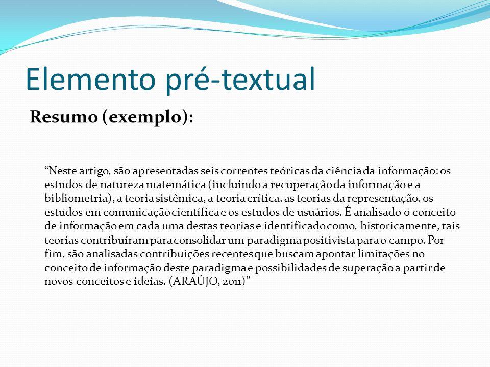Elemento pré-textual Resumo (exemplo):