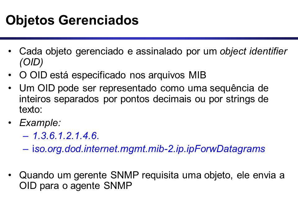 Objetos Gerenciados Cada objeto gerenciado e assinalado por um object identifier (OID) O OID está especificado nos arquivos MIB.