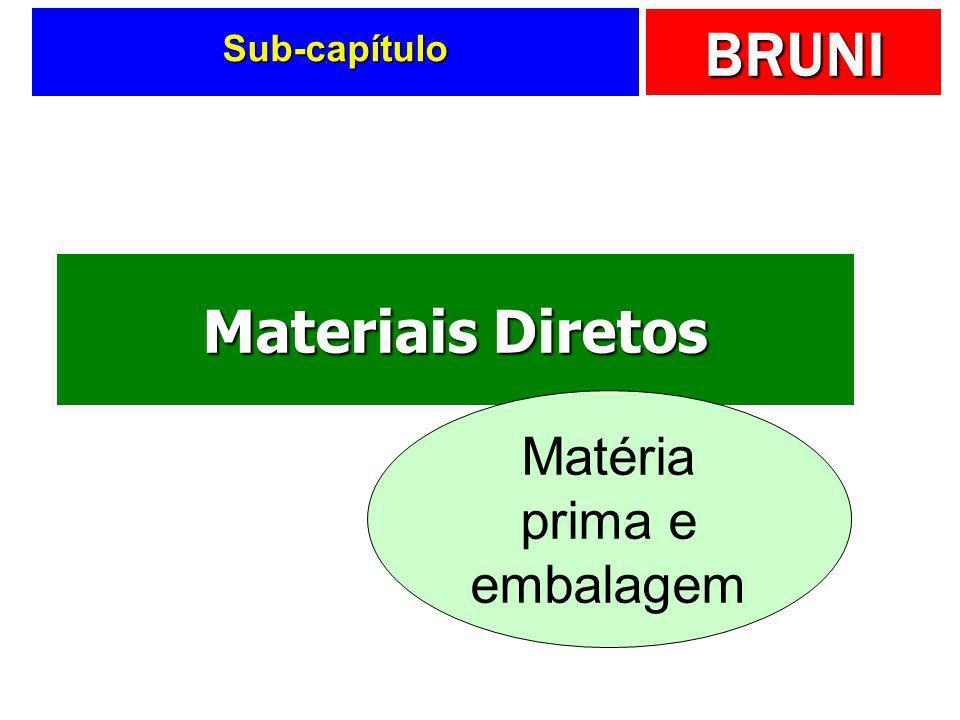 Sub-capítulo Materiais Diretos Matéria prima e embalagem