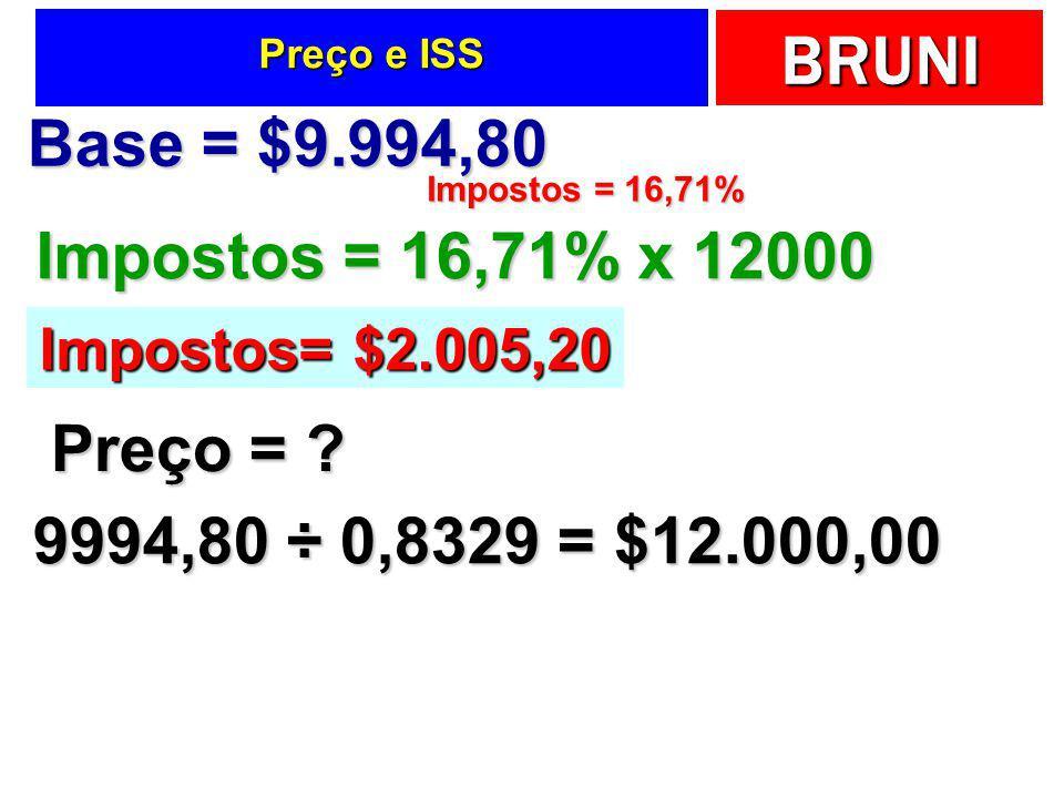 Base = $9.994,80 Impostos = 16,71% x 12000 Preço =