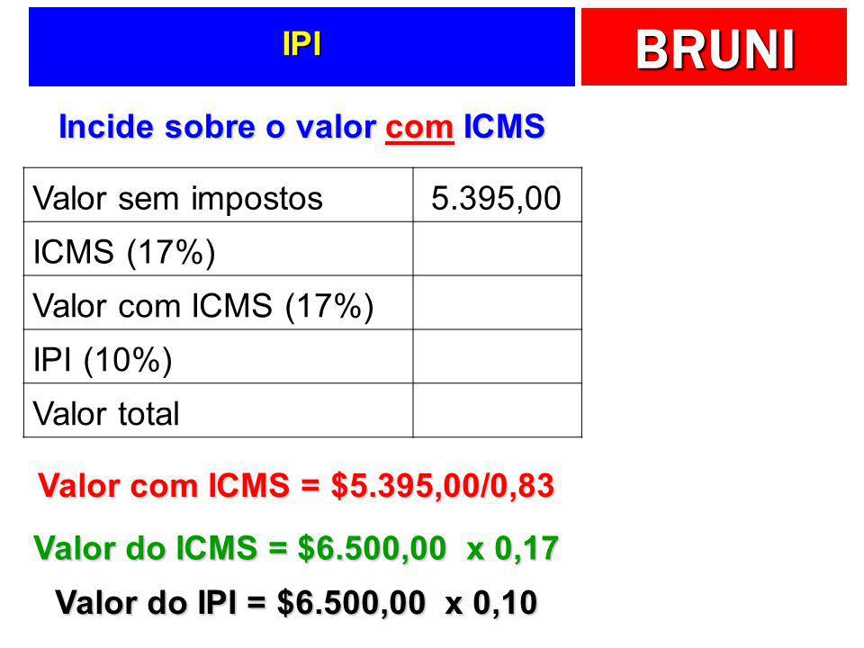 Incide sobre o valor com ICMS
