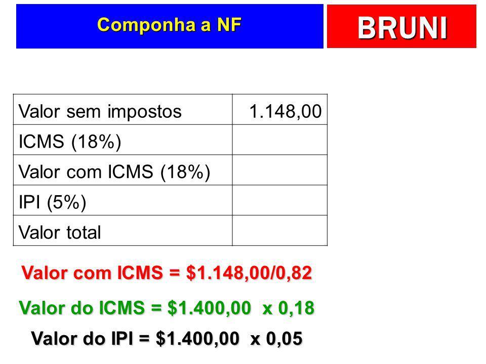 Componha a NF Valor sem impostos. 1.148,00. ICMS (18%) 252,00. Valor com ICMS (18%) 1.400,00. IPI (5%)