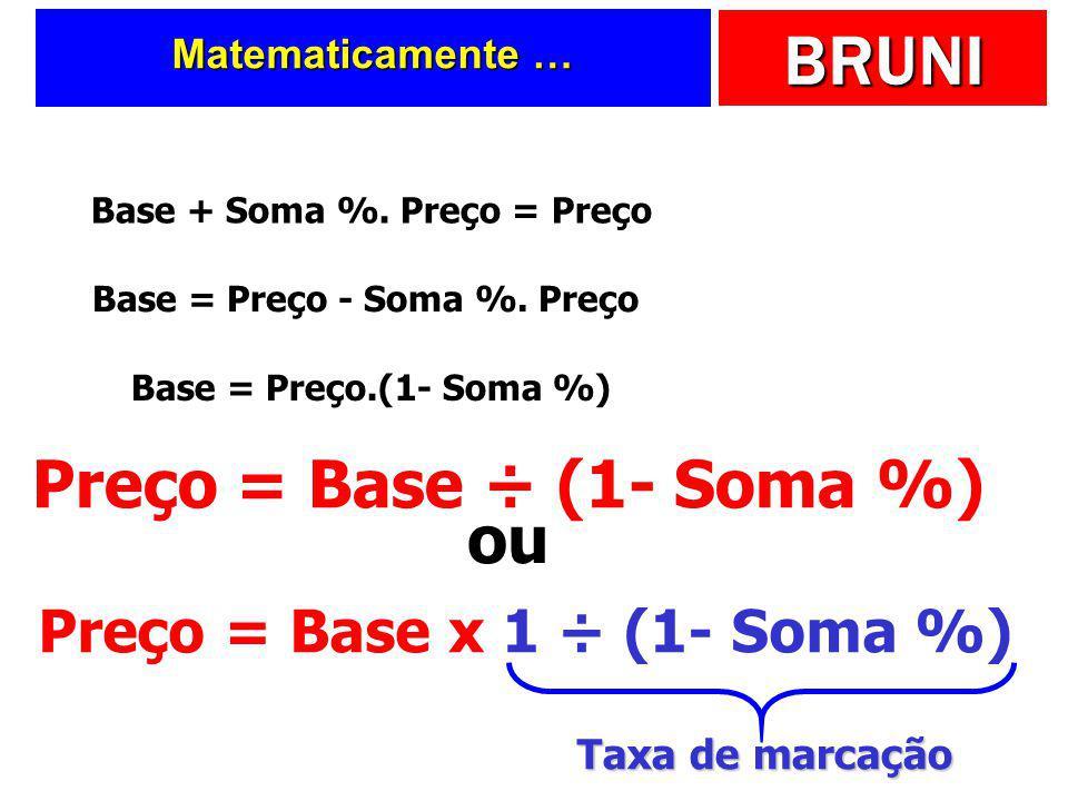 Base + Soma %. Preço = Preço Preço = Base x 1 ÷ (1- Soma %)