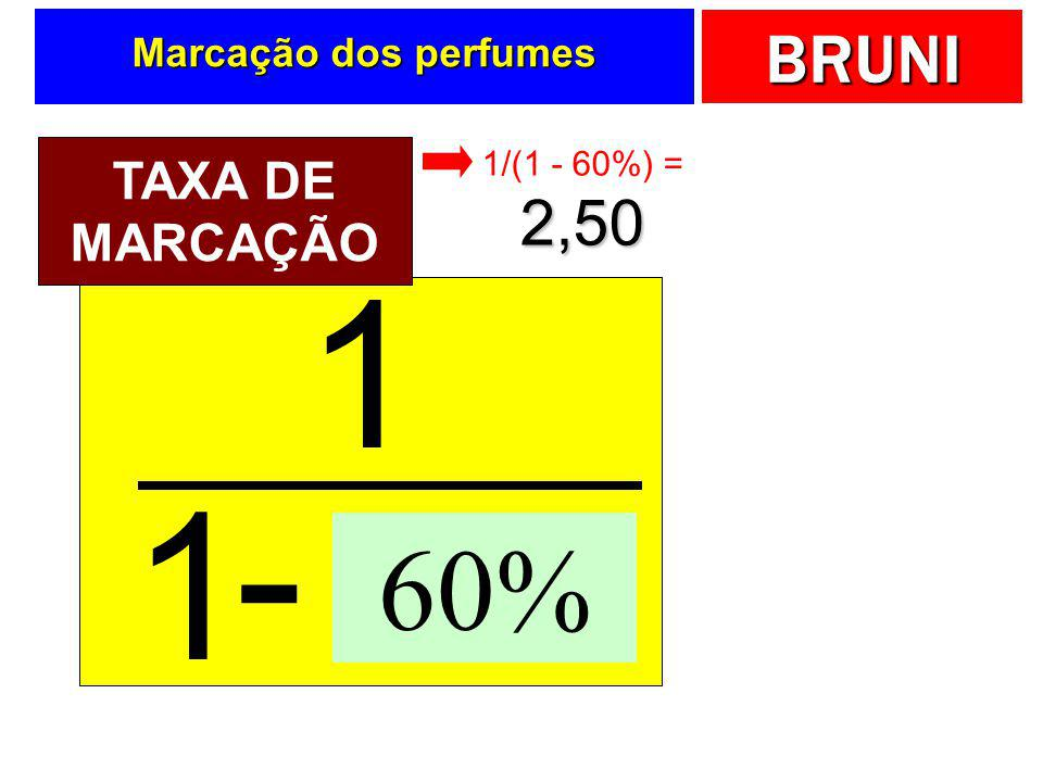 1 - 1 60% Soma % 2,50 TAXA DE MARCAÇÃO Marcação dos perfumes