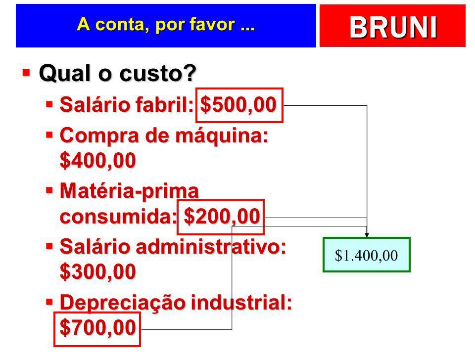 Qual o custo Salário fabril: $500,00 Compra de máquina: $400,00