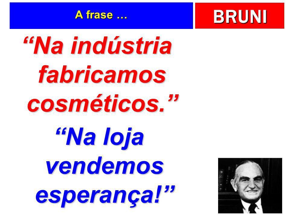 Na indústria fabricamos cosméticos. Na loja vendemos esperança!