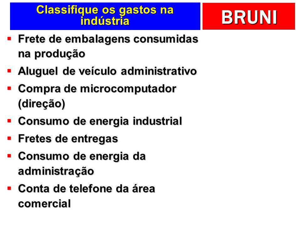 Classifique os gastos na indústria