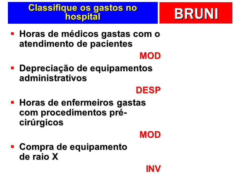 Classifique os gastos no hospital