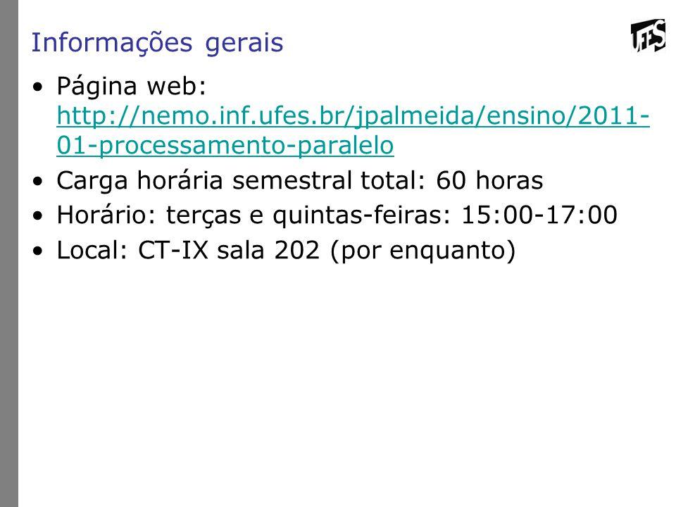 Informações gerais Página web: http://nemo.inf.ufes.br/jpalmeida/ensino/2011-01-processamento-paralelo.