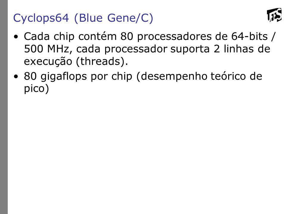 Cyclops64 (Blue Gene/C) Cada chip contém 80 processadores de 64-bits / 500 MHz, cada processador suporta 2 linhas de execução (threads).