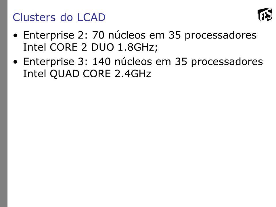 Clusters do LCAD Enterprise 2: 70 núcleos em 35 processadores Intel CORE 2 DUO 1.8GHz;
