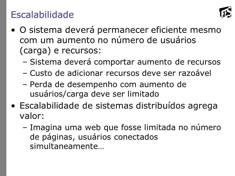 Escalabilidade O sistema deverá permanecer eficiente mesmo com um aumento no número de usuários (carga) e recursos: