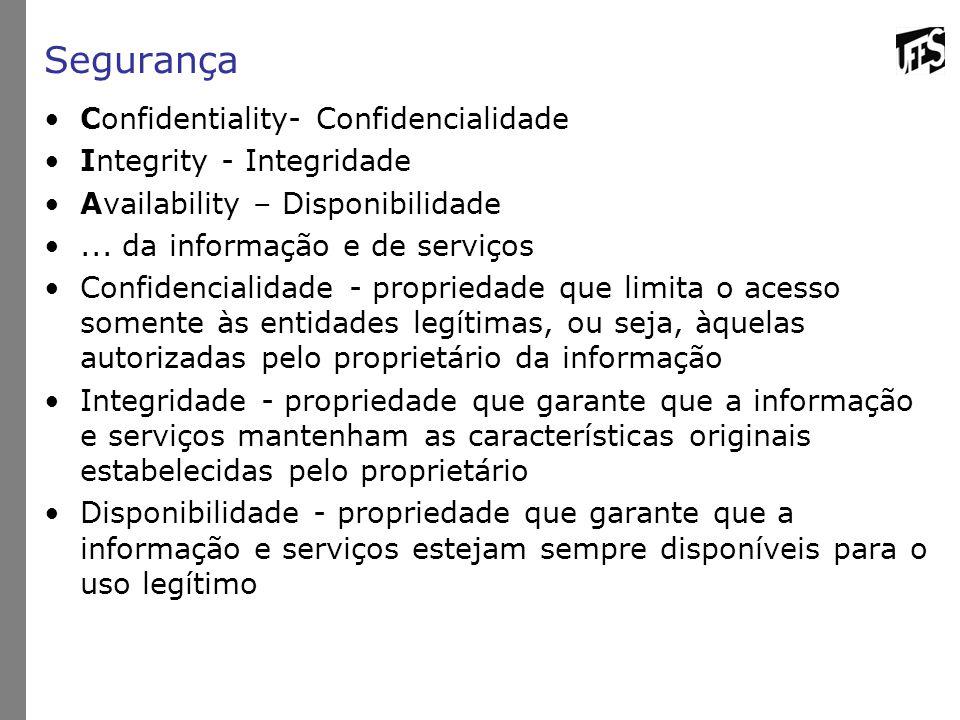 Segurança Confidentiality- Confidencialidade Integrity - Integridade
