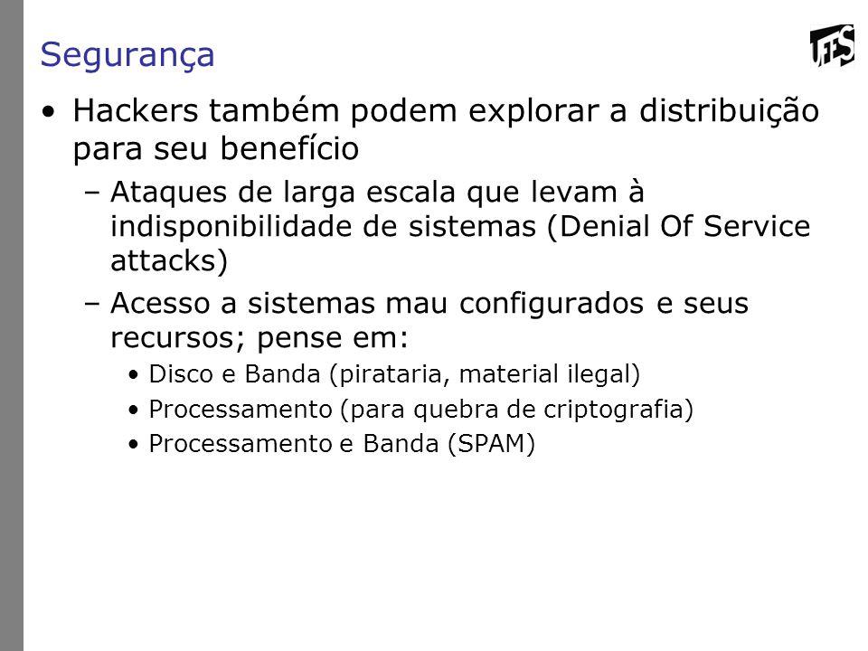 Segurança Hackers também podem explorar a distribuição para seu benefício.