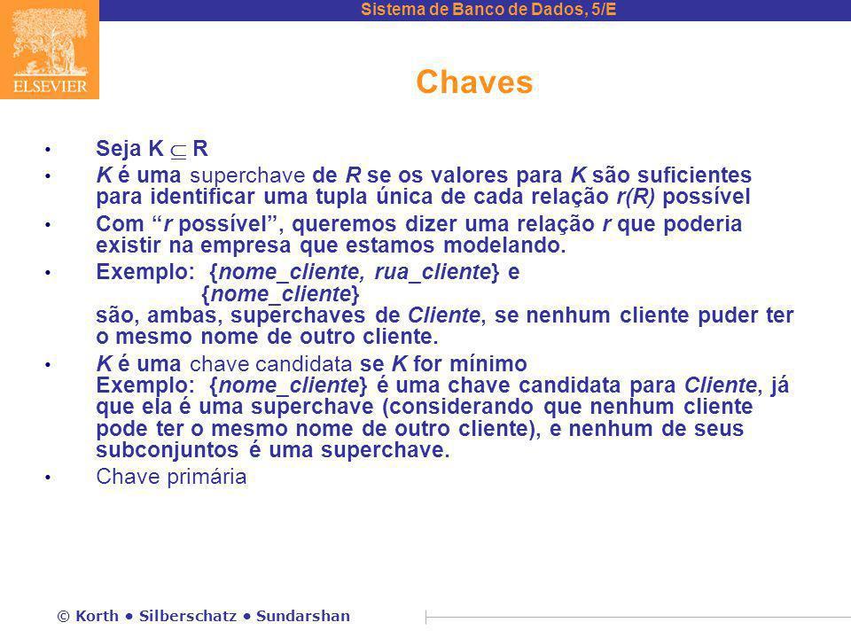 Chaves Seja K  R. K é uma superchave de R se os valores para K são suficientes para identificar uma tupla única de cada relação r(R) possível.