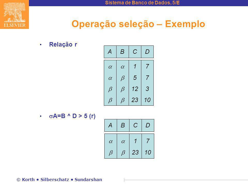 Operação seleção – Exemplo