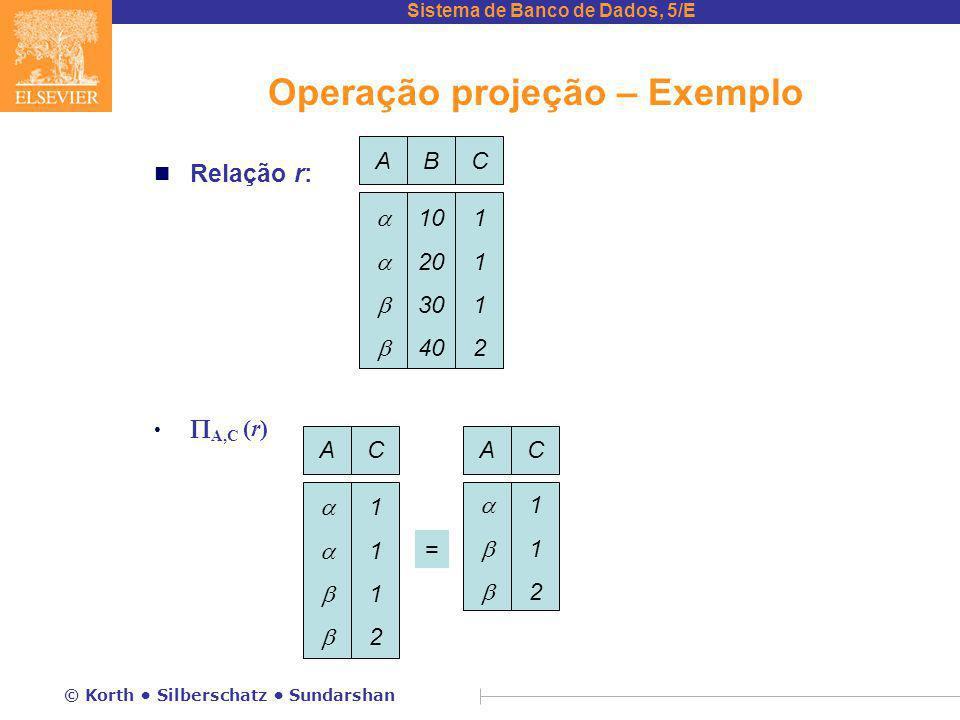 Operação projeção – Exemplo