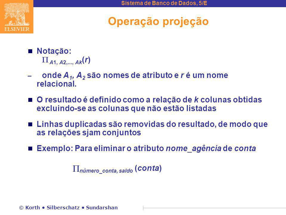 Operação projeção Notação:  A1, A2,..., Ak(r)