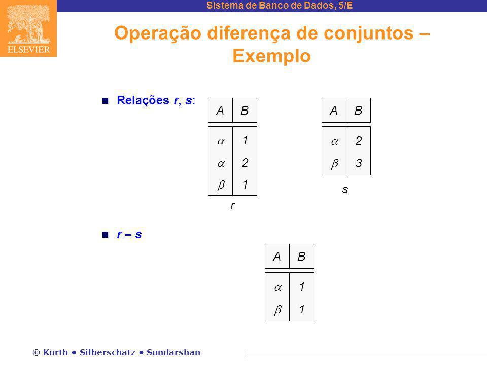 Operação diferença de conjuntos – Exemplo