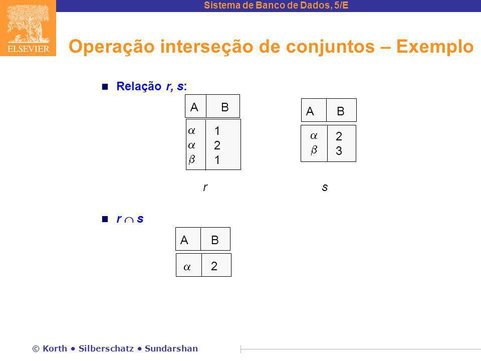 Operação interseção de conjuntos – Exemplo