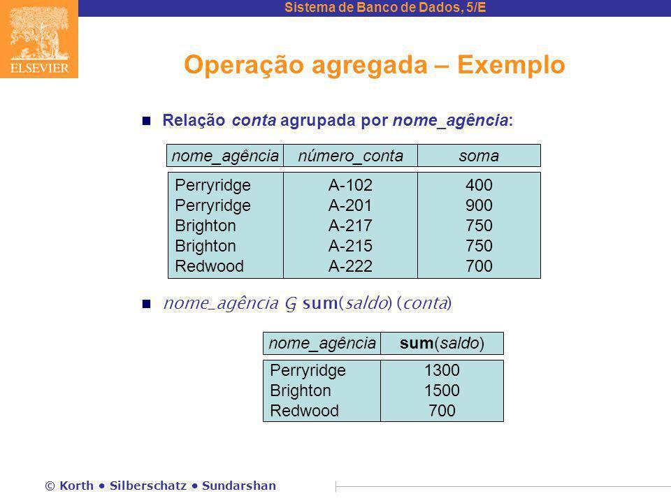 Operação agregada – Exemplo