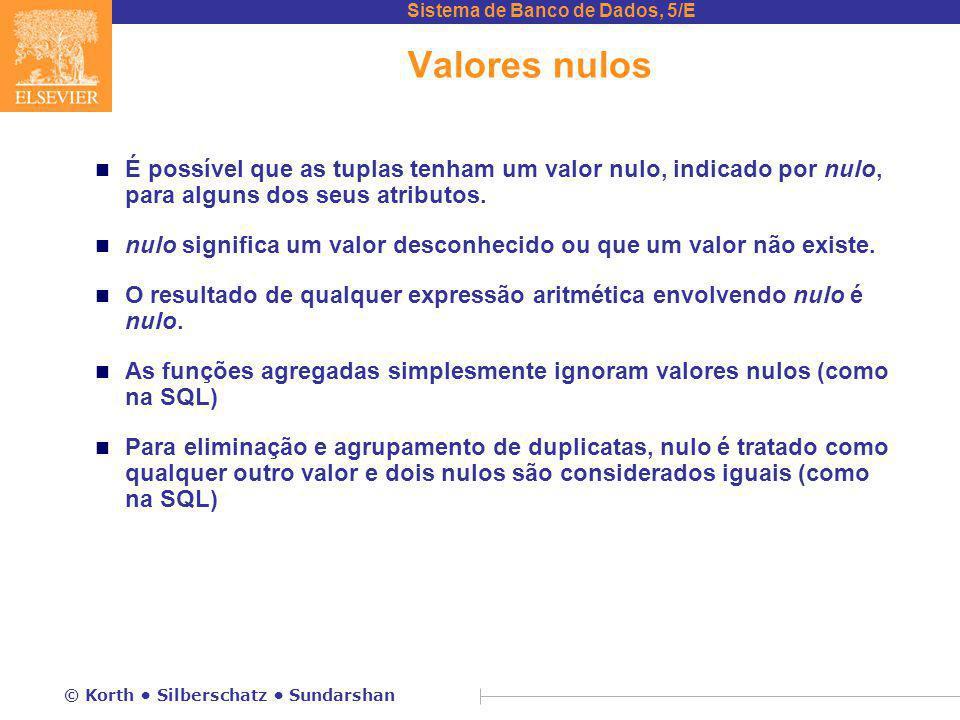 Valores nulos É possível que as tuplas tenham um valor nulo, indicado por nulo, para alguns dos seus atributos.