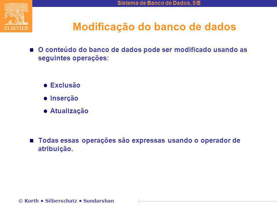 Modificação do banco de dados