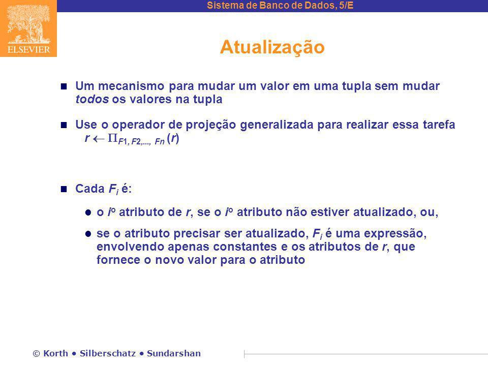 Atualização Um mecanismo para mudar um valor em uma tupla sem mudar todos os valores na tupla.