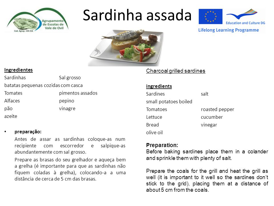 Sardinha assada Ingredientes Charcoal grilled sardines