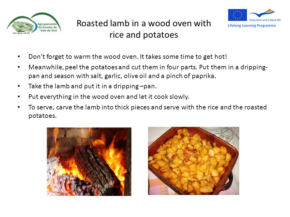 Roasted lamb in a wood oven with rice and potatoes
