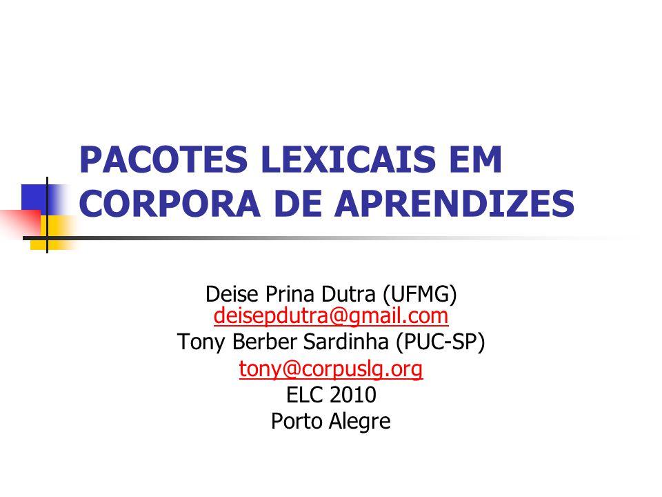 PACOTES LEXICAIS EM CORPORA DE APRENDIZES