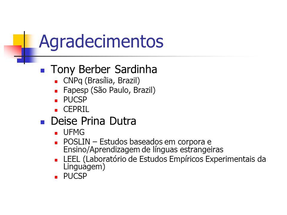 Agradecimentos Tony Berber Sardinha Deise Prina Dutra