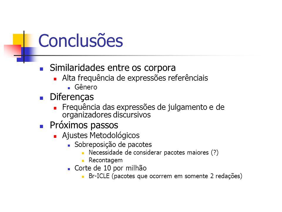 Conclusões Similaridades entre os corpora Diferenças Próximos passos
