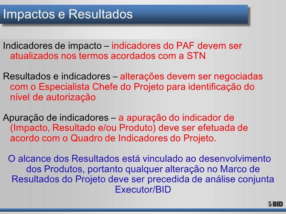 Impactos e Resultados Indicadores de impacto – indicadores do PAF devem ser atualizados nos termos acordados com a STN.